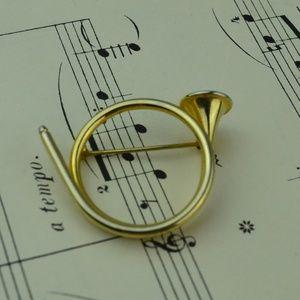 Vintage Gold Tone Horn Bugle Brooch